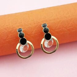 Tanishka Fashion Gold Plated Black Meenakari Austrian Stone Stud Earrings $ 1312854C