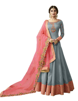 YOYO Fashion Grey Silk Anakali Salwar Suit & YO-F1271