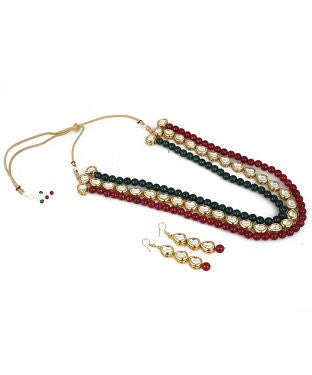 aradhya Alloy, Metal Jewel Set (Green, Maroon, Gold)