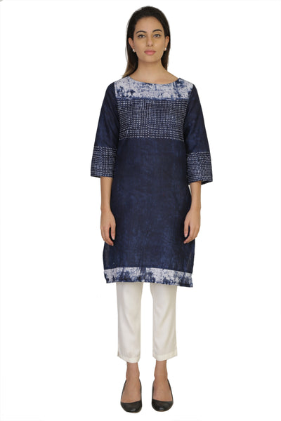 Vaniya Women Cotton Kurta Navy Blue Printed Kurti $ VN-K138