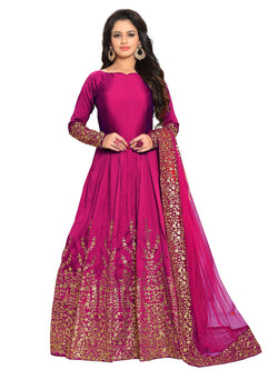 YOYO Fashion Designer Embroidered Tafeta Silk Bridal Anarkali Salwar Suit $ yoyo-F1075-Rani