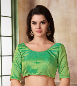 Manvi Fashion Green Color Border Piping Work Two Ton Silk in Fabric Party Wear Readymade Blouse $ MF 3107