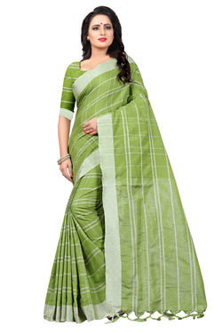 YOYO Fashion Latest Fancy Linan Cottan Green Saree $ SARI2584 Green