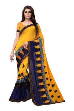 YOYO Fashion Embroidered Georgette Mustard Saree With Blouse $ SARI2615-Mustard
