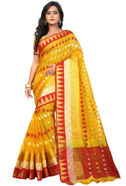 YOYO Fashion Polyester Pink Embroidered Saree With Blouse $ YOYO-SARI2633-Yellow