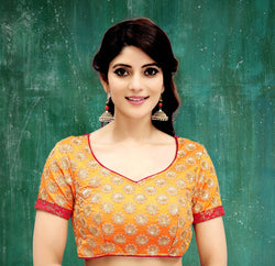Manvi Fashion Orange Color Embroidery Work Two Ton Silk in Fabric Party Wear Readymade Blouse $ MF 3115