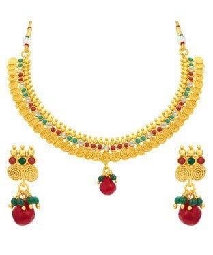 Sukkhi Pleasing Jalebi Gold Plated Necklace Set For Women