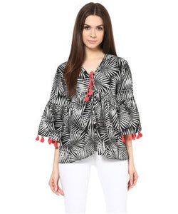 Miway Women Black & White Palm Print Top