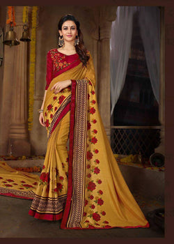 Fashion Zonez Printed Rangoli Georgette Yellow Designer Saree With Blouse $ FZ 2681