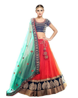 Muta Fashions Women's Semi Stitched Net Orange Lehenga $ LEHENGA131