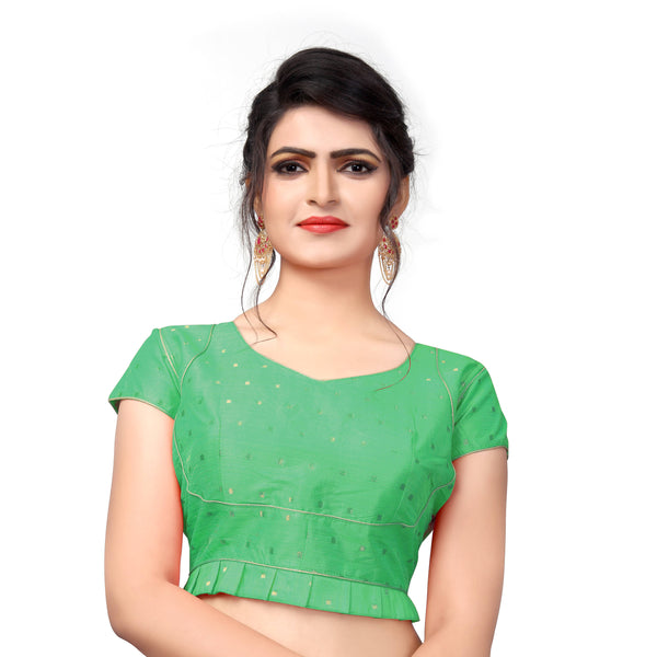 YOYO Fashion Green Malbari Solid Blouse & YO-BL4005-Green