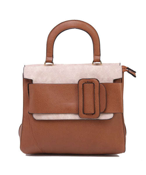 Fiona Trends Tan PU Hand Held Bag,K73_TAN
