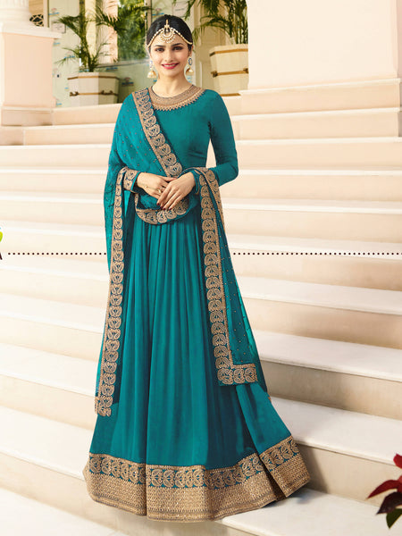 YOYO Fashion Latest Fancy Semi-stitched Faux Georgette Embroidered Anarkali Salwar Suit Gown $YO-F1215-Firoji