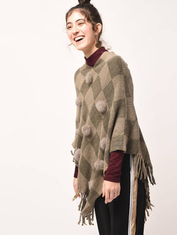 Aiyra Brown Color wollen pom pom checkered fringed poncho $ AR15800348_free size