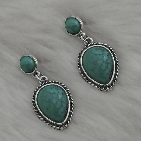Tanishka Fashion Silver Plated Green Turquoise Stone Dangler Earrings $ 1310871A