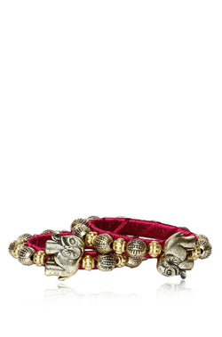 Bauble Burst Hathi Moti Wine Bangles Set