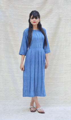 Blue Khadi Cotton Box Pleated Maxi Dress $ IWK-000458