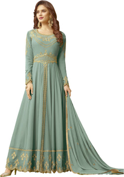 YOYO Fashion Sky Blue Faux Georgette Anarkali Salwar Suit & YO-F1309