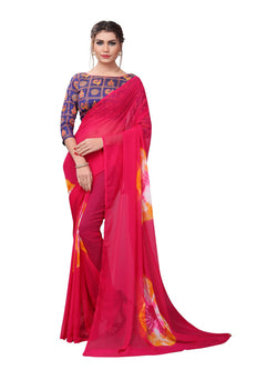 YOYO Fashion Printed Georgette Pink Saree With Blouse $ YOYO-SARI2617