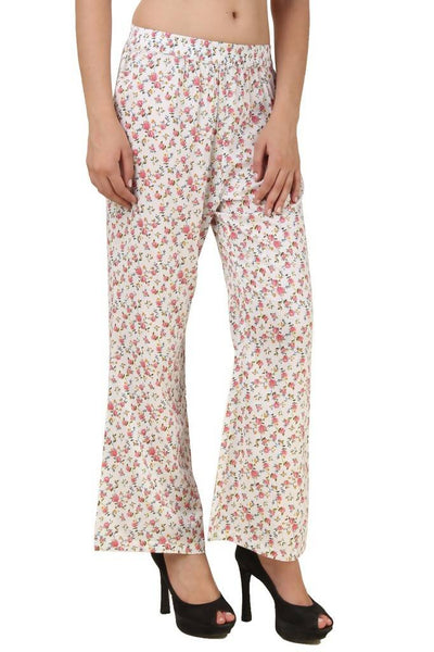 Fame 16 Flared Women's White Rayon Floral Printed Plazzo $ F16-1600062