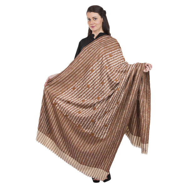 La Vastraa's Full Thread Work Jaal Women's Jamawar Palla Beige Shawl-HKS0097