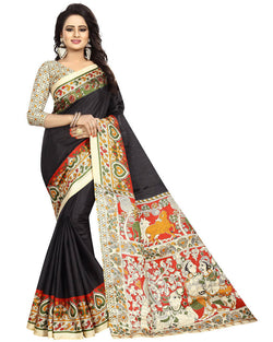 Muta Fashions Women's Unstitched Khadi Silk Black Saree $ MUTA1360