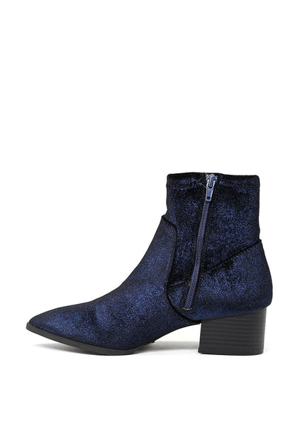 London Rag Women's Blue Glittery Ankle Boots-SH1494BLUE