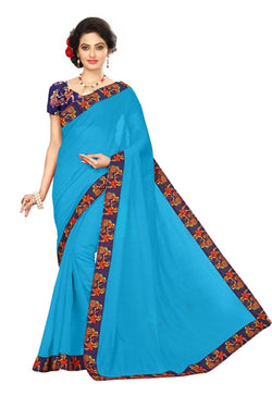 16to60trendz Sky Blue Chanderi Lace Work Chanderi Saree $ SVT00258