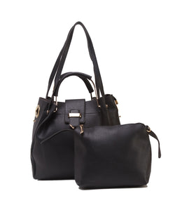 Fiona Trends Black PU Shoulder Bag,614_BLACK