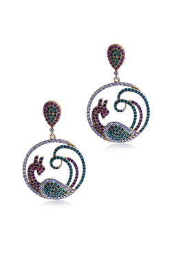Framed Peacock Earrings - JPIMEAR1030