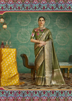 Umang NX Green Art Silk Designer Weaving Sarees $ UN4741
