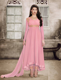 YOYO Fashion Georgette Anarkali Semi-Stitched salwar suit $ F1135-Pink