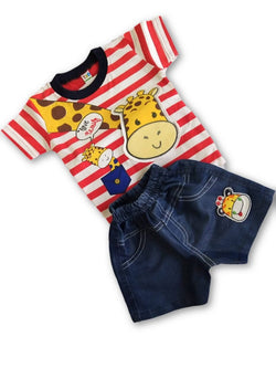 Boys Jiraffe Printed Tshirt & Denim shorts Set $ CP_SC019
