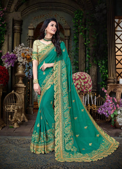 Fashion Zonez Jari Embroidery with Multi Embroidery Lace Border Georgette Blue Designer Saree With Blouse $ FZ 1977