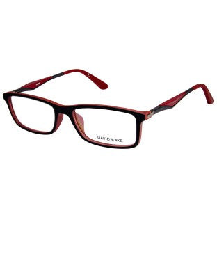 David Blake Matte Black Red Rectangular Full Rim EyeFrame