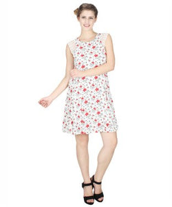 Miway White Printed Shift Dress