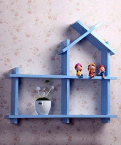 THE NEW LOOK Hut Shape Blue Wooden Wall Shelf-100000813541