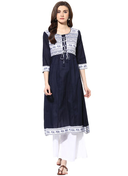 Mytri Women's Navy Cambric Printed Anarkali Kurta $ 9000496-NAVY