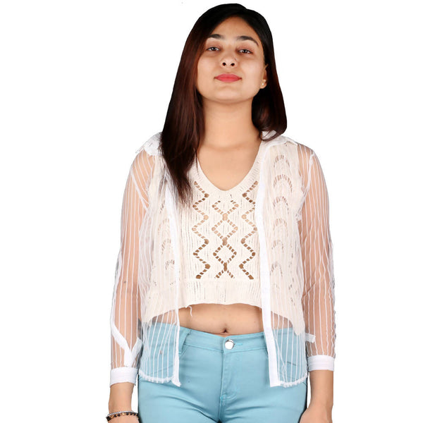 Fashiontiara Fancy Collection Of Net Stripted Button shirt with Woven design cotton knitted Off White crop Tops $ FTS25
