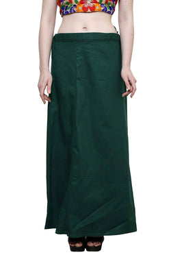 MY TRUST Cotton Dark Green Color Saree Petticoats $ PT-19