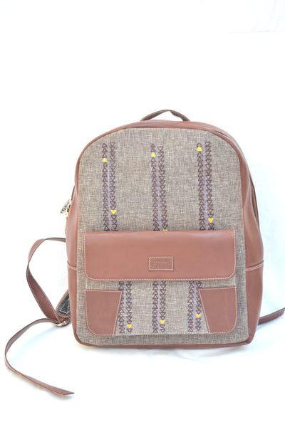 Grey and Brown Leatherite Embroidered Laptop Bag $ IWK-LPBAG-05