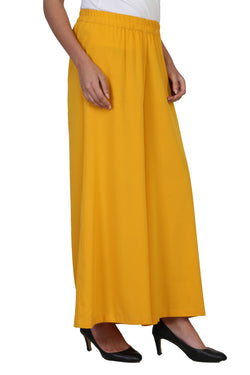 Vaniya Women Trouser Crepe Yellow Solid Plazo $ VN-P101