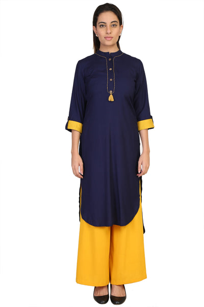 Vaniya Women Cotton Kurta Navy Blue Solid Kurti $ VN-K109