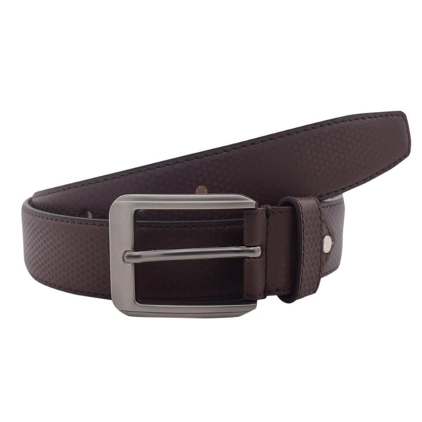 Baluchi's Brown Textured Semi Formal Men's Belt $ BLC_PMBR_4