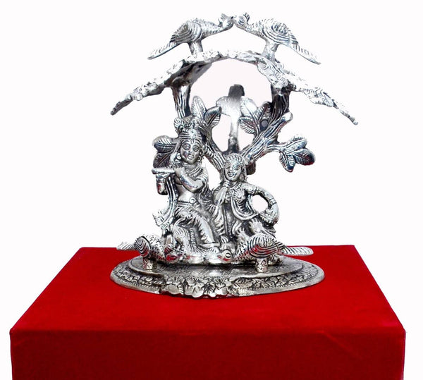 Silver Plated Radha Krishna Tree God Idol Oxidized Silver Finish with Red Velvet Box Packing (22 cm, Silver) Exclusive Gift Items for Diwali Gift, Wedding Gift and Corporate Gift $ IGRKTR101