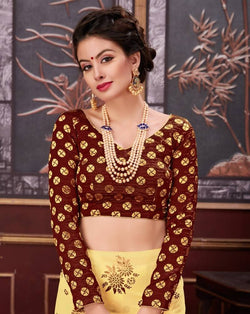 Manvi Fashion Chiku Color Border Piping Work Broket in Fabric Party Wear Readymade Blouse $ MF 3096