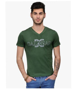 Dazzgear Men's Green V Neck MTV-57 T-Shirt