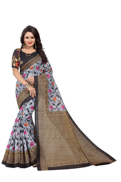 16TO60TRENDZ Grey Color Printed Bhagalpuri Silk Saree $ SVT00502