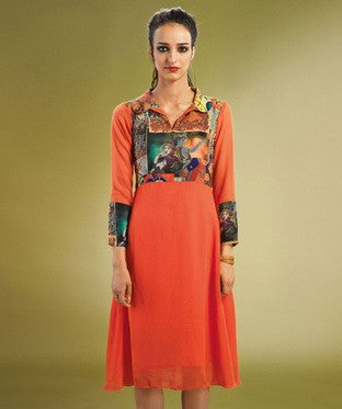 ADMYRIN Orange Kurti with Inner