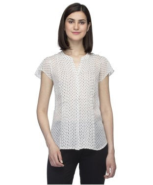 Oxolloxo White Printed Sheer Shirt